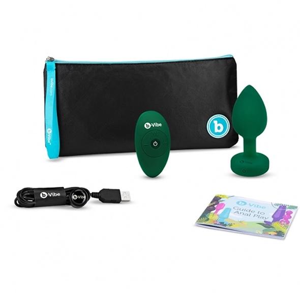 Plug-gioiello-vibrante-misura-ML-b-Vibe-verde-smeraldo-contenuto